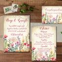Rusztikus Esküvői meghívó, Vintage Esküvő, Vad virágos, Bohém Esküvői képeslap, rusztikus lap, vintage , Esküvő, Naptár, képeslap, album, Meghívó, ültetőkártya, köszönőajándék, Képeslap, levélpapír, Minőségi Virágos Esküvői  Meghívó  * MEGHÍVÓ CSOMAG BORÍTÉKKAL: - 1.  -Meghívó lap, egy oldalas: kb...., Meska
