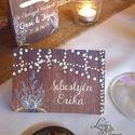 Esküvői ültetőkártya, meghívó, rusztikus, vintage wedding, Esküvői ültető, levendula, fényfüzér, pajta, Esküvő, Naptár, képeslap, album, Meghívó, ültetőkártya, köszönőajándék, Esküvői dekoráció, Fotó, grafika, rajz, illusztráció, Papírművészet, Rusztikus Levendula Esküvői  ültetőkártya, Egyedi Igényes sátras, két oladalas asztali ültetőkártya..., Meska