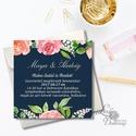 Esküvői meghívó, Modern virágos meghívó, vízfesték hatású meghívó, kék meghívó, tengerkék esküvő, elegáns, romantikus, Esküvő, Naptár, képeslap, album, Meghívó, ültetőkártya, köszönőajándék, Képeslap, levélpapír, Esküvői  Meghívó: * Meghívó lap 1 oldalas 13x13cm * fényes boríték: 14x14cm  * SZERKESZTÉSI DÍJ: 300..., Meska