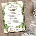 Vintage Esküvői meghívó, rusztikus meghívó, levélkoszorú, Esküvői kártya, zöld levelek, natúr meghívó, levél, vízfesték, Esküvő, Naptár, képeslap, album, Meghívó, ültetőkártya, köszönőajándék, Képeslap, levélpapír, Minőségi  Esküvői  Meghívó  * MEGHÍVÓ CSOMAG BORÍTÉKKAL: - Meghívó egy lap, egy oldalas: kb.: 14cm x..., Meska