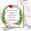 Vintage Esküvői meghívó, Rusztikus meghívó, Zöld levelek, Zöld levél koszorú, Esküvői lap, bordó virágos meghívó, , Esküvő, Naptár, képeslap, album, Meghívó, ültetőkártya, köszönőajándék, Képeslap, levélpapír, Esküvői  Meghívó: * Meghívó lap 1 oldalas 13x13cm * fényes boríték: 14x14cm  * SZERKESZTÉSI DÍJ: 300..., Meska