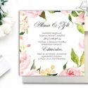 Romantikus Esküvői meghívó, Vízfesték hatású meghívó, Rózsás meghívó, Zöld levelek, Zöld levél, virágkoszorú, rózsakert, Esküvő, Naptár, képeslap, album, Meghívó, ültetőkártya, köszönőajándék, Képeslap, levélpapír, Rózsás, Igényes Esküvői meghívó lap, gyönyörű fényes borítékkal.  Hívd meg vendégeidet ezzel a gyöny..., Meska