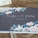 Esküvői Emlékkönyv, Vendégkönyv, könyv, fehér virágos, virág, elegáns, zöld levelek, szürke, Esküvői vendégkönyv,, Esküvő, Naptár, képeslap, album, Nászajándék, Esküvői dekoráció, Fotó, grafika, rajz, illusztráció, Papírművészet, Esküvői A5-ös Emlékkönyv.  Gyönyörű Igényes Esküvői Emlékkönyv, A5-ös méret, 70 prémium lapos (140-..., Meska