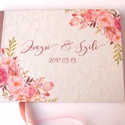 Esküvői Emlékkönyv, Vendégkönyv, könyv, rózsa,mályva virágos, virág, elegáns, rózsás, rózsaszín,  Esküvői vendégkönyv,, Esküvői A5-ös Emlékkönyv.  Gyönyörű Igény...