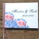 Esküvői Emlékkönyv, Vendégkönyv, könyv, rózsa, kék hortenzia virágos, rózsaszín, mályva, Esküvői vendégkönyv,, Esküvő, Naptár, képeslap, album, Nászajándék, Esküvői dekoráció, Fotó, grafika, rajz, illusztráció, Papírművészet, Esküvői A5-ös Emlékkönyv.  Gyönyörű Igényes Esküvői Emlékkönyv, A5-ös méret, 70 prémium lapos (140-..., Meska