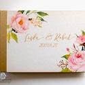Esküvői Emlékkönyv, Csattos mappa Vendégkönyv, virágos könyv, virág, elegáns, rózsás, rózsaszín, rózsa, arany, Esküvő, Naptár, képeslap, album, Nászajándék, Esküvői dekoráció, Esküvői A5-ös Emlékkönyv.  * Csattos Mappa: Kivehetó, fehér prémium lapokkal * Méret: A5 *  Fekvő * ..., Meska