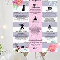 Esküvői Poszter A3, Esküvői kép, Esküvő Dekor, Esküvői felirat, Vintage, Elegáns, Virágos, Vendég, Esküvő, Dekoráció, Esküvői dekoráció, Kép, Fotó, grafika, rajz, illusztráció, Papírművészet, A/3-as Esküvői Poszter, Programterv, keret, álvány nélkül.  Program és Design Szerkesztésiköltsége:..., Meska