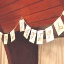 Zászlófüzér, Esküvői dekor, Zászló, Banner, Bunting, Esküvő dekoráció, Vintage, Rusztikus, Szalag, füzér, barack virágos, Esküvő, Dekoráció, Esküvői dekoráció, Nászajándék, Esküvői Zászlófüzér Személyre szólóan a pár nevével, virág Designal, passzoló szatén szalaggal.  11 ..., Meska