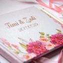 Hortenzia Emlékkönyv, Esküvői Vendéggkönyv, barack, rózsaszín,  Virágos könyv, Rózsás, Rózsa, Esküvő, könyv, elegáns, Esküvő, Naptár, képeslap, album, Esküvői dekoráció, Nászajándék, Esküvői Virágos A5-ös Emlékkönyv.  Gyönyörű Igényes Esküvői Emlékkönyv, A5-ös méret, 70 prémium lapo..., Meska