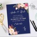 Elegáns Esküvői meghívó, Nyári Esküvő, Tenger kék meghívó, Barack virágok, nyári virágos meghívó, Modern, Esküvő, Naptár, képeslap, album, Meghívó, ültetőkártya, köszönőajándék, Képeslap, levélpapír, Minőségi Virágos Esküvői  Meghívó  * MEGHÍVÓ CSOMAG BORÍTÉKKAL: - Meghívó egy lap, egy oldalas: kb.:..., Meska