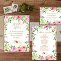 Rózsakert Esküvői meghívó, Nyári Esküvő, Rózsa, rózsás, elegáns, romantikus, virágos meghívó, vízfesték meghívó, Esküvő, Naptár, képeslap, album, Meghívó, ültetőkártya, köszönőajándék, Képeslap, levélpapír, Minőségi Virágos Esküvői  Meghívó  * MEGHÍVÓ CSOMAG BORÍTÉKKAL: - 1.  -Meghívó lap, egy oldalas: kb...., Meska