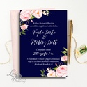 Kék Esküvői meghívó, Tenger kék meghívó, pink, rózsa virágos meghívó, nyári virágos meghívó, vízfesték rózsa, Esküvő, Naptár, képeslap, album, Meghívó, ültetőkártya, köszönőajándék, Képeslap, levélpapír, Minőségi  Esküvői  Meghívó  * MEGHÍVÓ CSOMAG BORÍTÉKKAL: - Meghívó egy lap, egy oldalas: kb.: 14cm x..., Meska