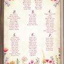 Ültetési rend, Esküvői ültetésirend, Ültetők, Ültetésrend, Esküvő dekor, Esküvő ültető kártya, Party, Esküvő, Naptár, képeslap, album, Meghívó, ültetőkártya, köszönőajándék, Esküvői dekoráció, Esküvői Ültetési rend A2 virágos Designal akár 17 asztalig is. (kb.200fő)  Gyönyörű Igényes Esküvői ..., Meska