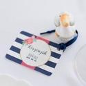 Esküvői köszönetkártya, szatén szalag, köszönjük lap, köszönetajándék, ajándékkísérő, kék virágos, Esküvő, Meghívó, ültetőkártya, köszönőajándék, Esküvői dekoráció, Nászajándék, Igényes köszönetkártya, ajándékkísérő lyukasztva szalaggal kötve  * MÉRETE: kb: 5.4 x 8 cm Más méret..., Meska