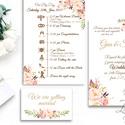 Angol Esküvői meghívó, Elegáns Esküvő, Arany meghívó, Barack virág, virágos meghívó, Modern, Rózsás, Rózsa, Romantikus, Esküvő, Naptár, képeslap, album, Meghívó, ültetőkártya, köszönőajándék, Képeslap, levélpapír, Esküvői Nyári Virágos meghívó, Amerikai stílusú Egyedi Igényes Esküvői meghívó  gyönyörű fényes borí..., Meska