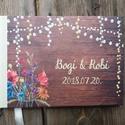 Rusztikus Esküvői Emlékkönyv, Virágos könyv, Vadvirág, Esküvői vendégkönyv, réti virág, mező, vintage, fa, pajta,, bohém, Esküvő, Naptár, képeslap, album, Nászajándék, Esküvői dekoráció, Esküvői Virágos A5-ös Emlékkönyv.  Gyönyörű Igényes Esküvői Emlékkönyv, A5-ös méret, 70 prémium lapo..., Meska