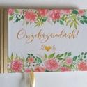 Rózsás Emlékkönyv, Esküvői Vendéggkönyv, arany, rózsaszín,  Virágos könyv, rózsa, vízfesték, Esküvő elegáns könyv, napló, Esküvő, Naptár, képeslap, album, Esküvői dekoráció, Nászajándék, Esküvői Virágos A5-ös Emlékkönyv.  Gyönyörű Igényes Esküvői Emlékkönyv, A5-ös méret, 70 prémium lapo..., Meska