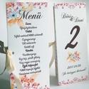 Esküvői Virágos Menü, Rózsás Virágos Esküvői lap, Esküvő Képeslap, rózsaszín meghívó, Party menü, Esküvő, Naptár, képeslap, album, Meghívó, ültetőkártya, köszönőajándék, Esküvői dekoráció, Esküvői Virágos Álló Háromszög Menü Szalaggal    Gyönyörű Igényes Esküvői Menükártya  3szög forma, 1..., Meska