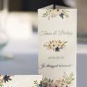 Esküvői Menü, Elegáns Esküvő, Virágos Esküvői lap, Rusztikus, Vintage Esküvő, Virágos, Party menü, Esküvő, Naptár, képeslap, album, Meghívó, ültetőkártya, köszönőajándék, Esküvői dekoráció, Esküvői Elegáns Virágos Álló Háromszög Menü szatén szalaggal  Gyönyörű Igényes Virágos Esküvői Menük..., Meska