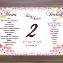 Pink Virágos Menü, Asztalszám, Virágos Esküvői lap, Esküvői menü, rózsaszín menü, Party menü, rózsa, rózsás, mályva, Esküvő, Naptár, képeslap, album, Meghívó, ültetőkártya, köszönőajándék, Esküvői dekoráció, Esküvői Virágos Álló Háromszög Menü Szalaggal    Gyönyörű Igényes Esküvői Menükártya  3szög forma, 1..., Meska