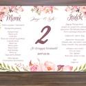 Mályva Virágos Menü, Asztalszám, Rózsás Virágos Esküvői lap, Esküvői menü, rózsaszín menü, Party menü, mályva, rózsa,, Esküvő, Naptár, képeslap, album, Meghívó, ültetőkártya, köszönőajándék, Esküvői dekoráció, Esküvői Virágos Álló Háromszög Menü Szalaggal    Gyönyörű Igényes Esküvői Menükártya  3szög forma, 1..., Meska