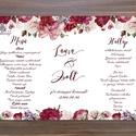 Esküvői Menü, Romantikus Esküvő, Virágos Esküvői lap, Rusztikus, Vintage Esküvő, Virágos, Party menü, Esküvő, Naptár, képeslap, album, Meghívó, ültetőkártya, köszönőajándék, Esküvői dekoráció, Esküvői Romantikus rózsás Álló Háromszög Menü szatén szalaggal  Gyönyörű Igényes Rusztikus Esküvői M..., Meska