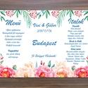Menü, Asztalszám, Itallap, Étlap, Vacsora, Rózsás Virágos Esküvői lap, Esküvői kártya, rózsaszín, zöld leveles, trópusi,, Esküvő, Naptár, képeslap, album, Meghívó, ültetőkártya, köszönőajándék, Esküvői dekoráció, Esküvői Virágos Álló Háromszög Menü Szalaggal    Gyönyörű Igényes Esküvői Menükártya  3szög forma, 1..., Meska