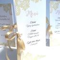 Esküvői Csipkés Menü, Arany, Csipke, Kála, menükártya, itallap, vacsora, étlap, elegáns, kála virág, virágos, Party menü, Esküvő, Naptár, képeslap, album, Meghívó, ültetőkártya, köszönőajándék, Esküvői dekoráció, Esküvői Virágos Álló Háromszög Menü Szalaggal    Gyönyörű Igényes Esküvői Menükártya  3szög forma, 1..., Meska