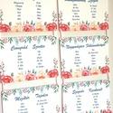 Vintage Esküvő, Ültetési rend, Esküvői Ültetésrend, Virágos, trópusi, rózsás, rózsa, tábla, Esküvő ültető kártya, Dekor,, Esküvő, Naptár, képeslap, album, Meghívó, ültetőkártya, köszönőajándék, Esküvői dekoráció, Virágos Esküvői Ültetési rend.  Gyönyörű Igényes Esküvői Ültetési rend, A4-es lapok, szalaggal össze..., Meska