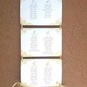 Ültetési rend, Esküvői Ültetésrend, elegáns, csipke, arany, tábla, Esküvő ültető kártya, Dekor, csipkés, elegáns, Esküvő, Naptár, képeslap, album, Meghívó, ültetőkártya, köszönőajándék, Esküvői dekoráció, Virágos Esküvői Ültetési rend.  Gyönyörű Igényes Esküvői Ültetési rend, A4-es lapok, szalaggal össze..., Meska
