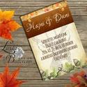 Őszi Esküvői meghívó, Rusztikus Esküvő, Vintage Esküvő, Bohém Esküvői képeslap, rusztikus, őszi levelek, Esküvő, Naptár, képeslap, album, Meghívó, ültetőkártya, köszönőajándék, Képeslap, levélpapír, Minőségi  Esküvői  Meghívó  * MEGHÍVÓ CSOMAG BORÍTÉKKAL: - Meghívó egy lap, egy oldalas: kb.: 14cm x..., Meska
