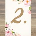 Esküvői kép, Dekoráció, kellék, Esküvői lap, Esküvő Dekor, Esküvői felirat, Vintage, Elegáns, Virágos, kártya, desszert, Esküvő, Dekoráció, Esküvői dekoráció, Kép, 13x18 cm-es ASZTALSZÁM Esküvői kártya / Lap. Standard álló képkeretbe, asztalra.  Egyéb méretek kérh..., Meska