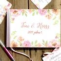 Esküvői Emlékkönyv, Vendégkönyv, könyv, rózsa,mályva virágos, virág, elegáns, rózsás, rózsaszín,  Esküvői vendégkönyv,, Esküvő, Naptár, képeslap, album, Nászajándék, Esküvői dekoráció, Fotó, grafika, rajz, illusztráció, Papírművészet, Esküvői A5-ös Emlékkönyv.  Gyönyörű Igényes Esküvői Emlékkönyv, A5-ös méret, 70 prémium lapos (140-..., Meska