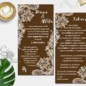 Csipkés meghívó, Esküvői meghívó, Csokoládé barna meghívó, fehér csipke, elegáns meghívó, romantikus, Esküvő, Naptár, képeslap, album, Meghívó, ültetőkártya, köszönőajándék, Esküvői dekoráció, Meghívó CSOMAG: * Meghívó lap, dupla oldalas nyomtatás : 21,1cm x 10,3cm + Fényes kék boríték: L4 mé..., Meska