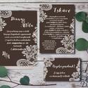 Csipkés Esküvői meghívó, Barna Csokoládé, elegáns meghívó, Vintage Esküvő, Csipke meghívó, képeslap, csoki barna, fehér, Esküvő, Naptár, képeslap, album, Meghívó, ültetőkártya, köszönőajándék, Képeslap, levélpapír, Fotó, grafika, rajz, illusztráció, Papírművészet, Elegáns Esküvői Meghívó szett  Hívd meg vendégeidet ezzel a gyönyörű Esküvői  meghívó szettel!  Meg..., Meska