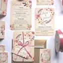 Vintage Esküvői meghívó, Romantikus, elegáns meghívó, marsala, Barack virág, virágos meghívó, Modern, mezei, rétivirág, , Esküvő, Naptár, képeslap, album, Meghívó, ültetőkártya, köszönőajándék, Képeslap, levélpapír, Minőségi Virágos Esküvői  Meghívó  * MEGHÍVÓ CSOMAG BORÍTÉKKAL: - 1.  -Meghívó lap, egy oldalas: kb...., Meska