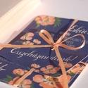 Elegáns Esküvői meghívó, Barack Virág, Tengerkék meghívó, Kék esküvő, Esküvői meghívó, Modern, Nyári Esküvő, Esküvő, Naptár, képeslap, album, Meghívó, ültetőkártya, köszönőajándék, Képeslap, levélpapír, Minőségi Virágos Esküvői  Meghívó  * MEGHÍVÓ CSOMAG BORÍTÉKKAL: - 1.  -Meghívó lap, egy oldalas: kb...., Meska