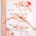 Elegáns, romantikus Esküvői meghívó,Nyári Esküvő, Arany meghívó, Barack virág, virágos meghívó, Modern, Rózsás, Rózsa, Esküvő, Naptár, képeslap, album, Meghívó, ültetőkártya, köszönőajándék, Képeslap, levélpapír, Minőségi Virágos Esküvői  Meghívó  * MEGHÍVÓ CSOMAG BORÍTÉKKAL: - 1.  -Meghívó lap, egy oldalas: kb...., Meska