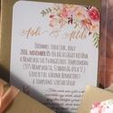 Elegáns Dupla oldlalas Esküvői meghívó,Nyári Esküvő, Arany meghívó, Barack virág, virágos meghívó, Modern, Rózsás, Rózsa, Esküvő, Naptár, képeslap, album, Meghívó, ültetőkártya, köszönőajándék, Képeslap, levélpapír, Minőségi Esküvői Virágos Meghívó  * MEGHÍVÓ CSOMAG: - Meghívó lap, DUPLA oldalas nyomtatással: kb.: ..., Meska