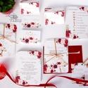 Bordó Esküvői meghívó, Őszi Rózsás meghívó, rózsa, elegáns, romantikus, virágos meghívó, őszi meghívó, őszi virágok,, Esküvő, Naptár, képeslap, album, Meghívó, ültetőkártya, köszönőajándék, Képeslap, levélpapír, Minőségi Virágos Esküvői  Meghívó  * MEGHÍVÓ CSOMAG BORÍTÉKKAL: - 1.  -Meghívó lap, egy oldalas: kb...., Meska