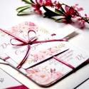 Mályva Esküvői meghívó, Rózsás meghívó, rózsa, elegáns, romantikus, virágos meghívó, vízfesték meghívó, nyári esküvő, Minőségi Virágos Esküvői  Meghívó  * MEGHÍ...