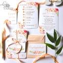 Elegáns, romantikus Esküvői meghívó,Nyári Esküvő, Arany meghívó, Barack virág, virágos meghívó, Modern, Rózsás, Rózsa, Esküvő, Naptár, képeslap, album, Meghívó, ültetőkártya, köszönőajándék, Képeslap, levélpapír, Esküvői Nyári Virágos meghívó, Amerikai stílusú Egyedi Igényes Esküvői meghívó  gyönyörű fényes borí..., Meska
