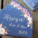 Esküvői köszönetkártya, ültető kártya, ültetők, köszönjük lap, köszönetajándék, ajándékkísérő, kék virágos, Esküvő, Meghívó, ültetőkártya, köszönőajándék, Esküvői dekoráció, Nászajándék, Fotó, grafika, rajz, illusztráció, Papírművészet, Elegáns, Romantikus virágos Esküvői Köszönetkártya / Ültetőkártya  Kis-kártya mérete: kb. : 5.3x7.5..., Meska