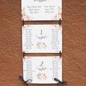 Ültetési rend, Esküvői Ültetésrend, romantikus ,rózsás, rózsa, kék, tábla, Esküvő ültető kártya, Dekor, elegáns, Esküvő, Naptár, képeslap, album, Meghívó, ültetőkártya, köszönőajándék, Esküvői dekoráció, Virágos Esküvői Ültetési rend.  Gyönyörű Igényes Esküvői Ültetési rend, A4-es lapok, szalaggal össze..., Meska