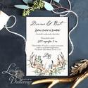 Agancsos Meghívó, Rusztikus esküvői meghívó, Bohó, natur meghívó, vadász, ősz, zöld leveles, levél, natúr, agancs, őszi, Esküvő, Naptár, képeslap, album, Meghívó, ültetőkártya, köszönőajándék, Képeslap, levélpapír, Minőségi  Esküvői  Meghívó  * MEGHÍVÓ CSOMAG BORÍTÉKKAL: - Meghívó egy lap, egy oldalas:..., Meska