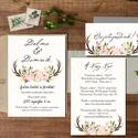 Őszi Esküvői meghívó, Agancsos meghívó, Rusztikus meghívó, erdei, vadász, Bohém, zöld, natúr, erdő, agancs, ősz, Esküvő, Naptár, képeslap, album, Meghívó, ültetőkártya, köszönőajándék, Esküvői dekoráció, Minőségi Virágos Esküvői  Meghívó  * MEGHÍVÓ CSOMAG BORÍTÉKKAL: - 1.  -Meghívó lap, egy oldalas: kb...., Meska