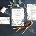 Őszi Esküvői meghívó, Rusztikus meghívó, Bohém, Natúr meghívó, erdei, natur, zöld levelek, levél , természet közeli, ősz, Esküvő, Naptár, képeslap, album, Meghívó, ültetőkártya, köszönőajándék, Esküvői dekoráció, Minőségi Virágos Esküvői  Meghívó  * MEGHÍVÓ CSOMAG BORÍTÉKKAL: - 1.  -Meghívó lap, egy oldalas: kb...., Meska