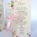 Menü, Asztalszám, itallap, Rózsás Virágos Esküvői lap, Esküvő, vacsora, rózsaszín, pink, rózsás, vintage, Party menü, Esküvő, Naptár, képeslap, album, Meghívó, ültetőkártya, köszönőajándék, Esküvői dekoráció, Esküvői Virágos Álló Háromszög Menü Szalaggal    Gyönyörű Igényes Esküvői Menükártya  3szög forma, 1..., Meska