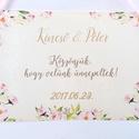 Esküvői Dekoráció, Esküvői felirat A4, dekor, Felirat, Poszter, romantikus, Esküvő, Vintage, Rusztikus, tábla, Esküvő, Dekoráció, Esküvői dekoráció, Nászajándék, Fotó, grafika, rajz, illusztráció, Papírművészet, Esküvői Dekoráció, A4-es nyomtatott lap, szalaggal kötve, a pár nevével, dátummal passzoló szatén s..., Meska