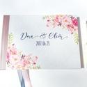 Rózsás Emlékkönyv, Esküvői Vendéggkönyv, pink, rózsaszín,  Virágos könyv, rózsa, kék, navy, Esküvő elegáns könyv, napló, Esküvő, Naptár, képeslap, album, Esküvői dekoráció, Nászajándék, Esküvői Virágos A5-ös Emlékkönyv.  Gyönyörű Igényes Esküvői Emlékkönyv, A5-ös méret, 70 prémium lapo..., Meska